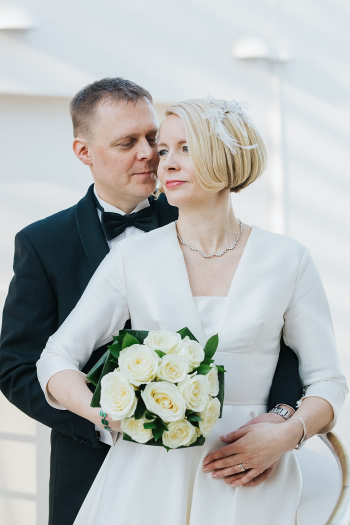 Real bride wearing short wedding dress
