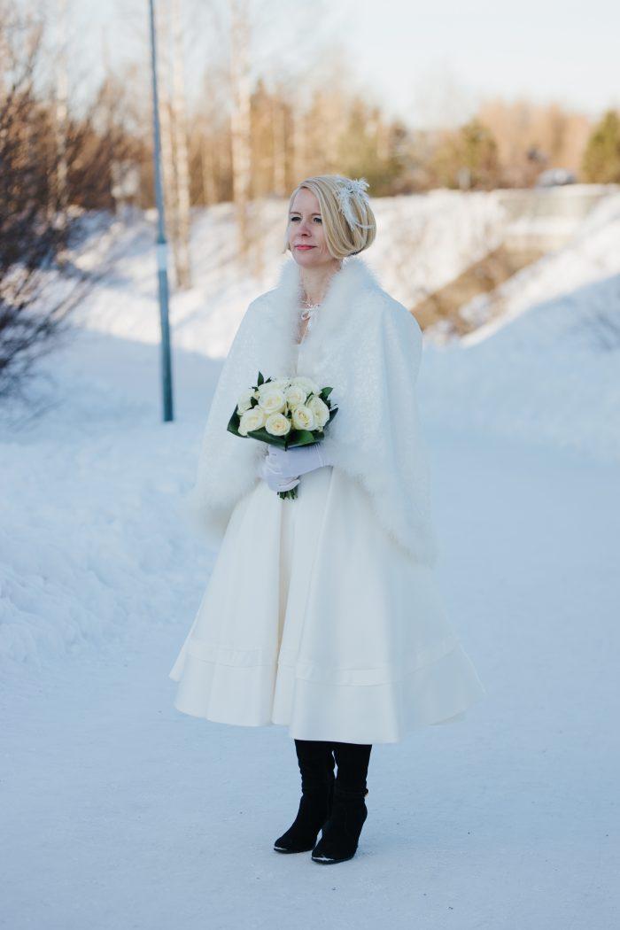 Real bride married in Finland, wearing a silk short weddimg dress