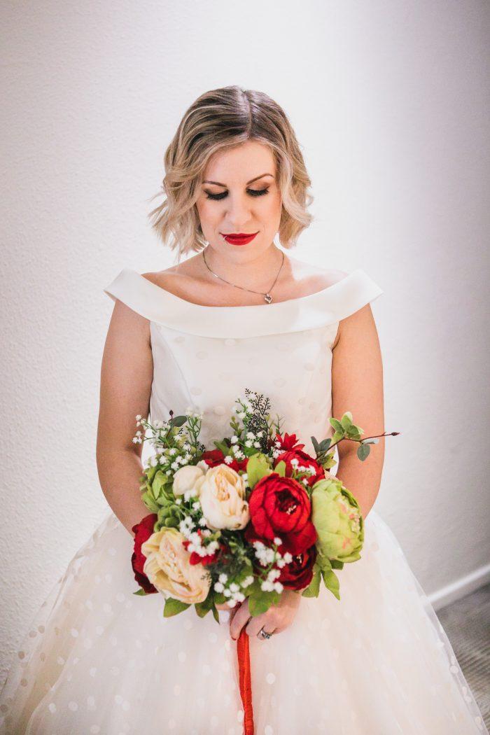 off the shoulder polka dot short wedding dress - real bride