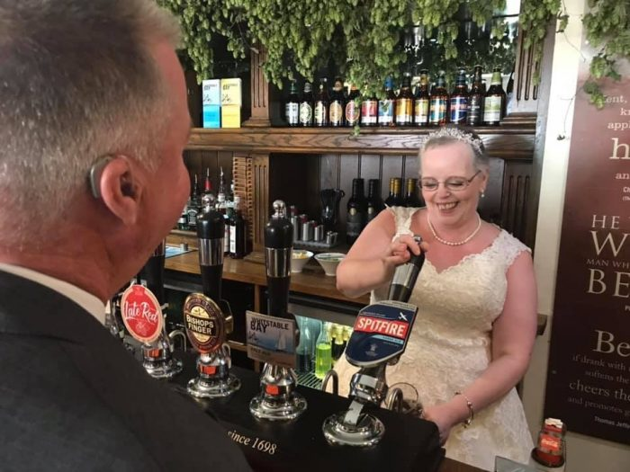 Real Bride pulling a pint