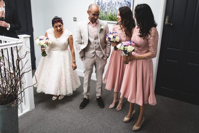 Bride wearing short wedding gown