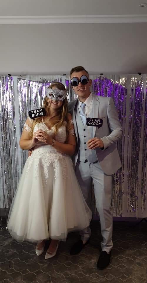 lace vintage style wedding dress real couple