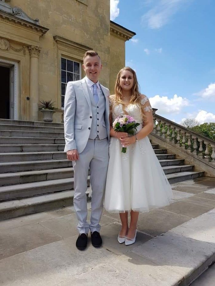 Real couple married in Bexley Kent wearing cutting edge Brides wedding gown