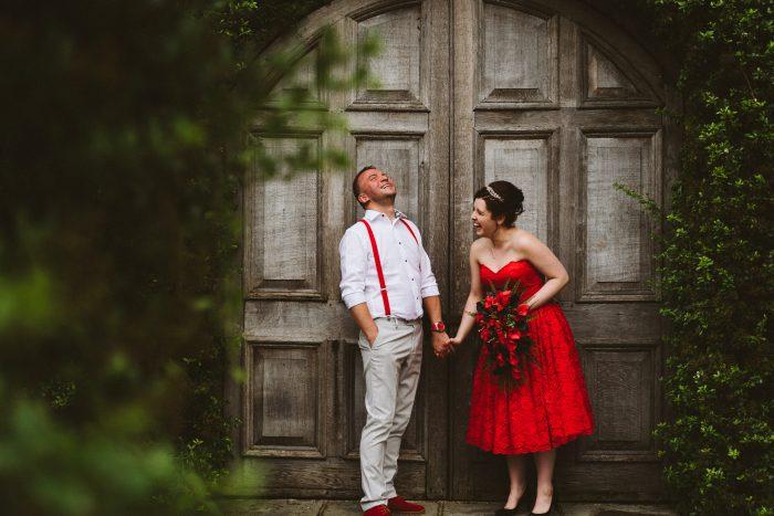 Tea length red wedding dress