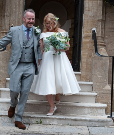 short wedding dress from Cutting Edge Brides worn by Beth