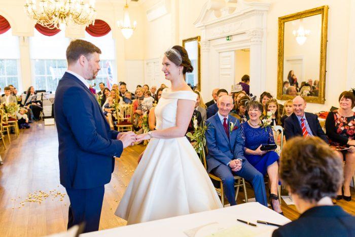 Real Bride wearing retro wedding dress