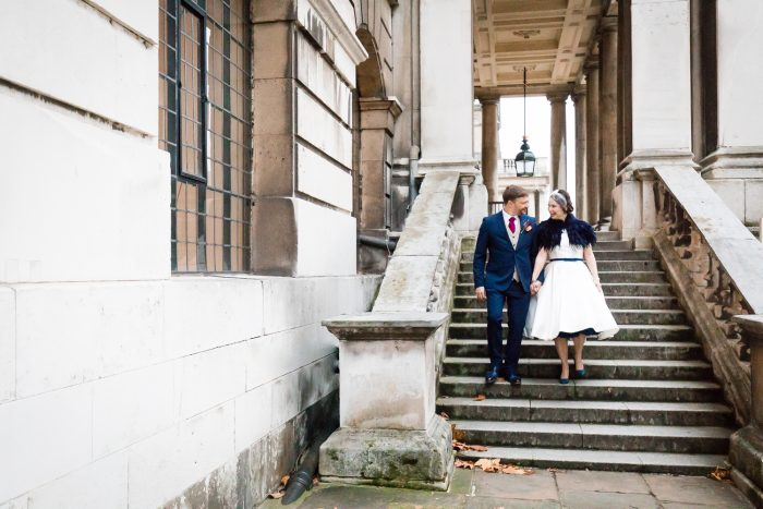 a tea length wedding dress on our real bride Louise
