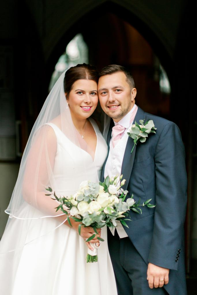 Rebecca & Callum - rebecca wearing a satin vintage style wedding dress