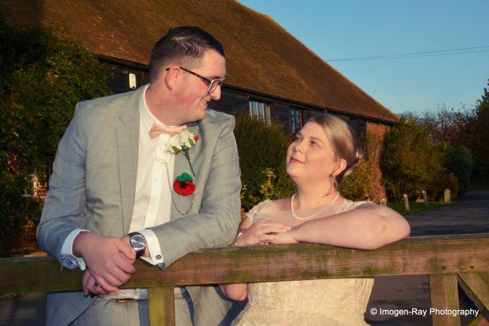 Tea Length Pink Wedding Gown