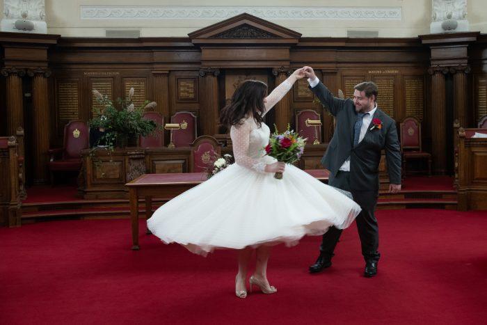ballerina length wedding dress worn by Alex from cutting edge brides