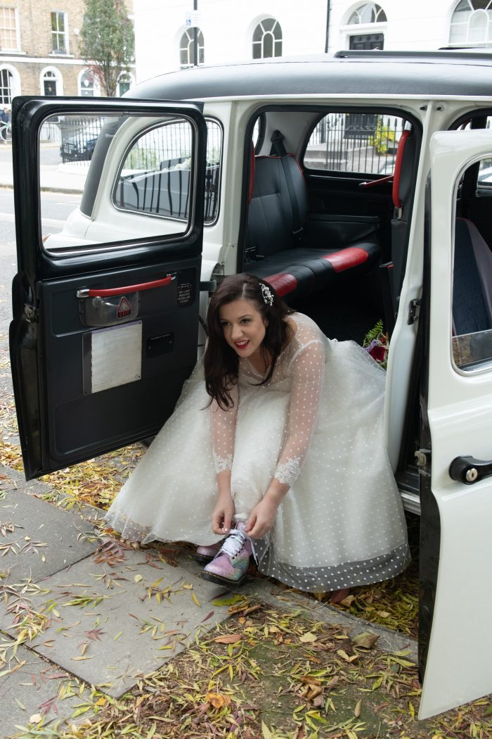 retro wedding dress in polka dots. Worn by our real bride
