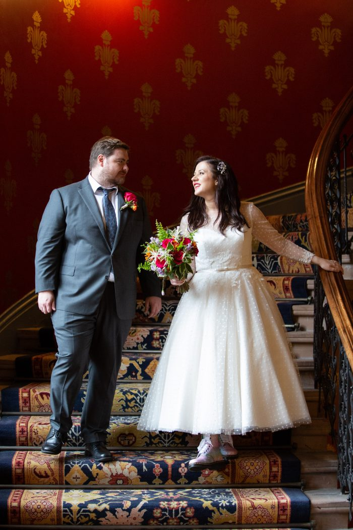 Real Wedding at Cutting Edge Brides. Bride wore a Dotty vintage style wedding dress