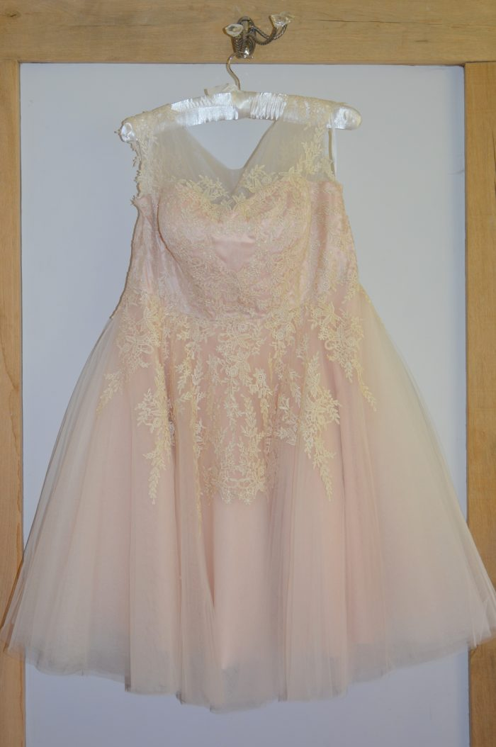 short wedding dress in blush pink from Cutting Edge Brides