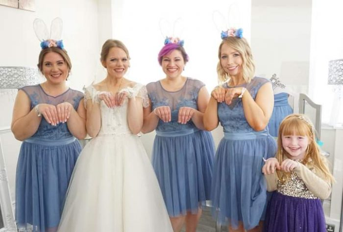 Fun bunny theme for Amy and Marks Wedding. Bride wearing Brighton Belle at Cutting Edge Brides