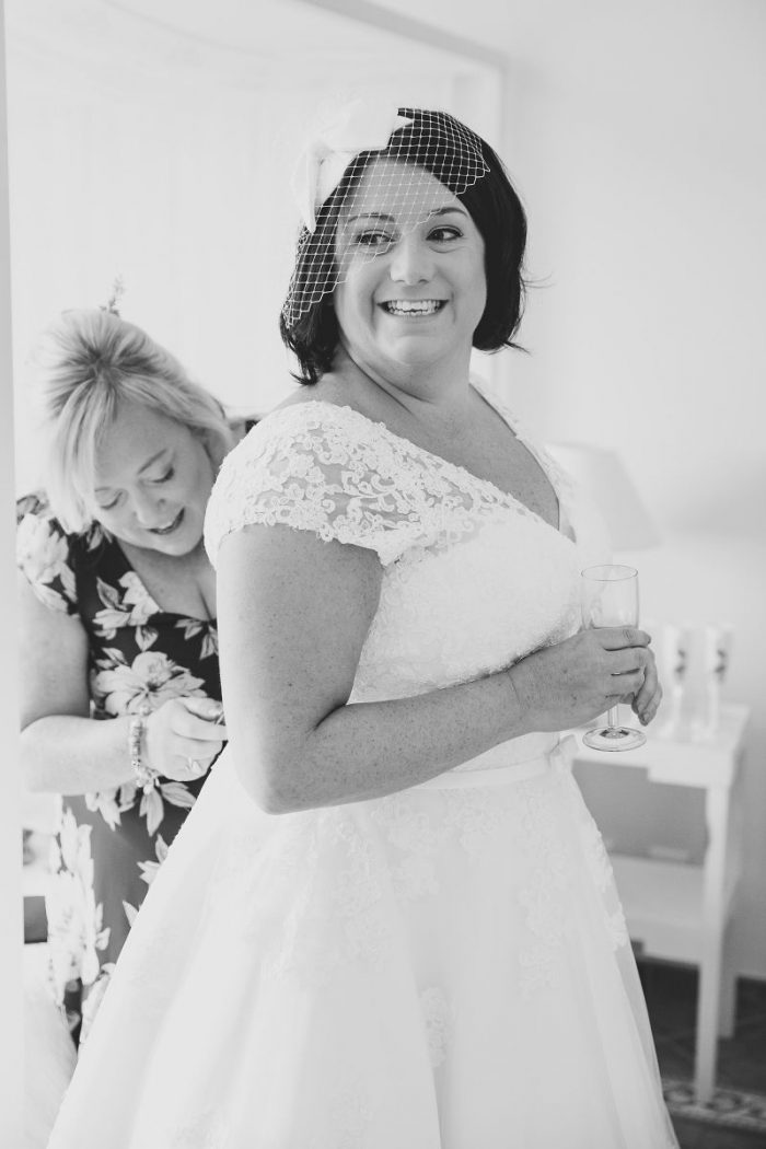 Real Bride Kate getting ready to marry Robin in portugal. wearing a Timeless Chic wedding dress from Cutting Edge Brides