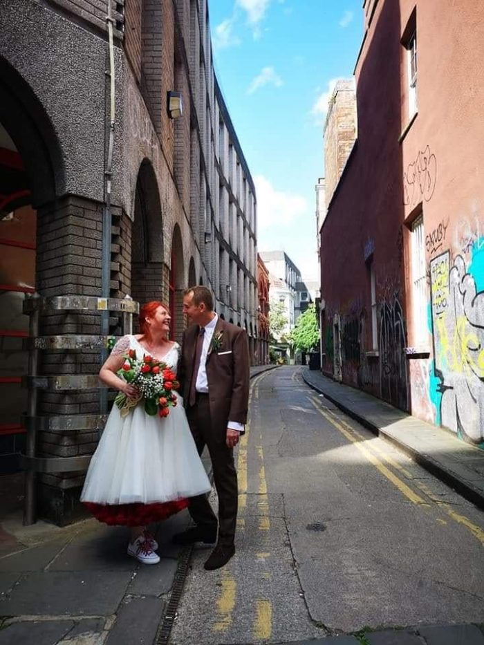 Bride and Groom - Bride wearing dress from Cutting Edge Brides