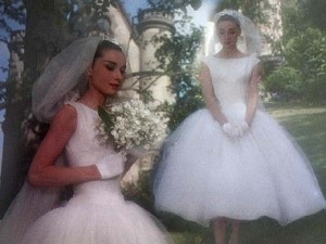 Beatiful Tea Length iconic style wedding dress worn by Audrey Hepburn in her 1957 Film 'Funny Face'  available to buy at Cutting Edge Brides