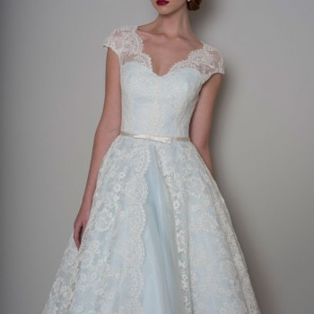 Bella Blue Tea Length wedding dress