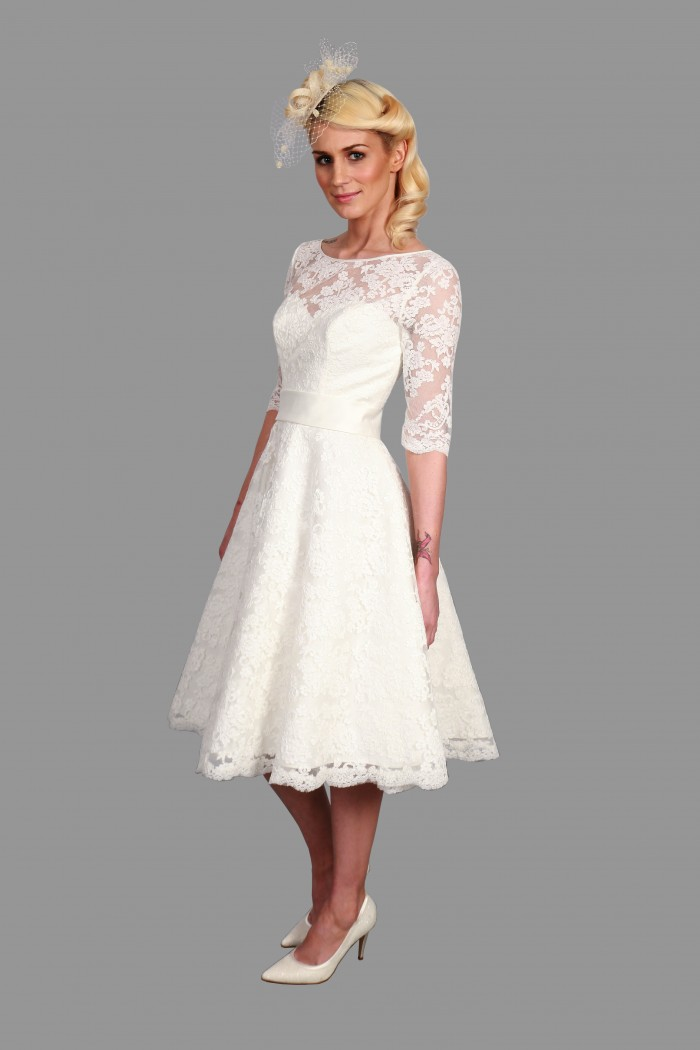 Mae Lace Short Tea Wedding Dress Sleeves