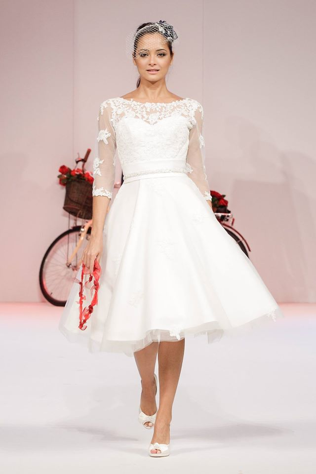 Polly Short Tea Length Vintage 50s 60s Wedding Dress With 3 4 Sleeve By Timeless Chic