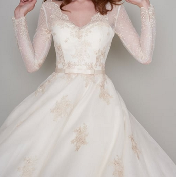 RITA by Loulou Bridal - A stunning Lace and Tulle Ivory & Gold 1950s 60s Inspired Tea Length Short Wedding Dress with Full Sleeves