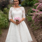 MAE Tea Length Lace Vintage Wedding Dress With Sleeves by Timeless Chic