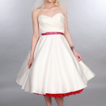 Where to buy a tea length wedding dress. this is Elizabeth Timeless Chic Vintage style wedding dress