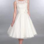 ANARA, Short Tea length Timeless Chic Wedding Dress