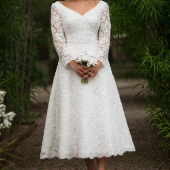 Gillian, Stunning tea length vintage style wedding dress with long sleeves