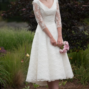 GEORGIA ,Tea Length Embellished Lace Vintage Inspired Wedding Dress Wedding Dress with sleeves, by Timeless Chic