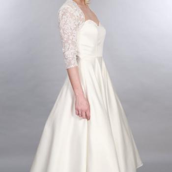 Edith Calf Length Satin 1950s Vintage Style Wedding Dress