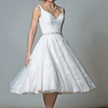 VICTORIA Tea Length Lace Short Wedding Dress With Strap by Rita Mae - Alan Hannah