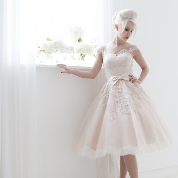 spring short wedding dress in pink