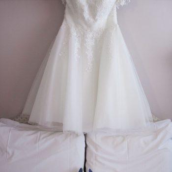 Real Bride Steph wearing Demi by True Bride short wedding dress at Cutting Edge Brides