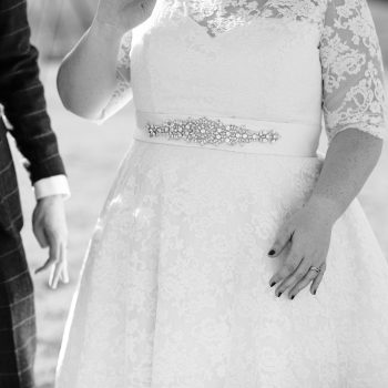 Details on a vintage tea length wedding dress Mae by Timeless Chic