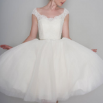 FLOSSIE, tea length vintage is a great dress for wedding first dance song moments inspired lace and tulle dress trimmed with a satin bow belt