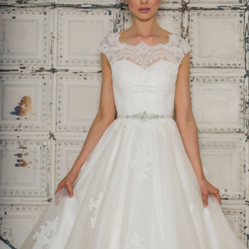 ELOISA Tea Length Retro Vintage Wedding Dress With Jeweled Cap Sleeve