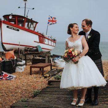 Real wedding, bride wearing alternative wedding dress