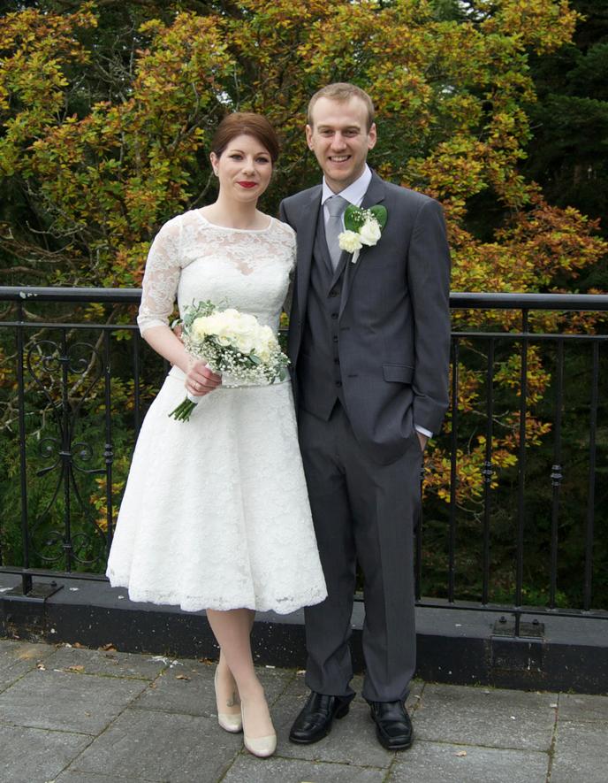 Bride wearing vintage style tea dress