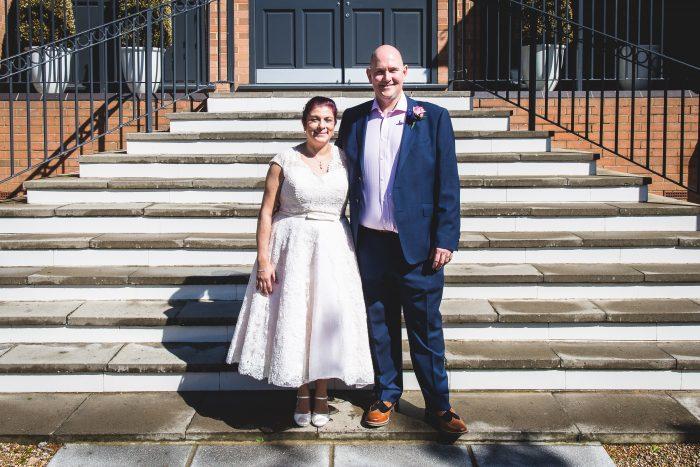 Pink tea length wedding dress