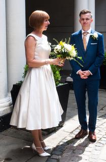 vintage inspired tea length bridal dress