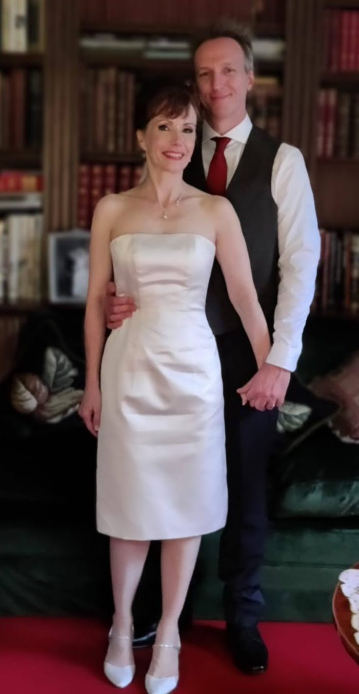 Our real bride Lisa wore a Timeless Chic Wedding Dress