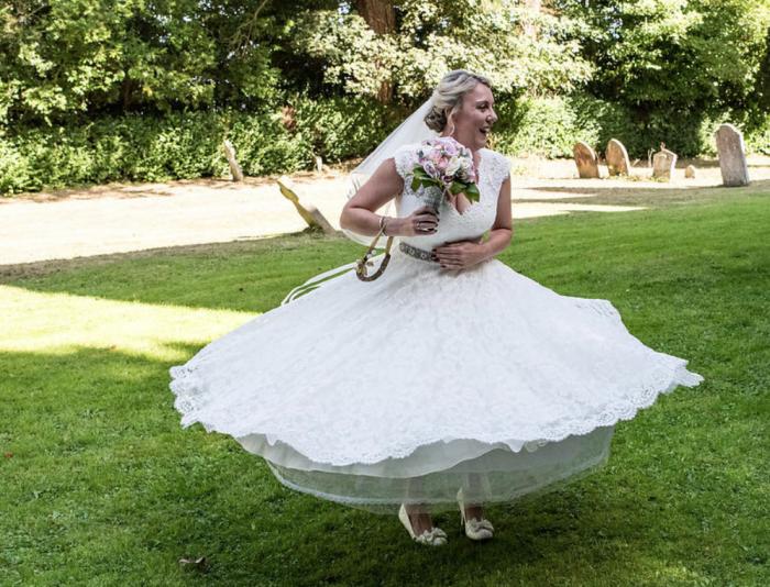 Calf Length Vintage Inspired Wedding Dress