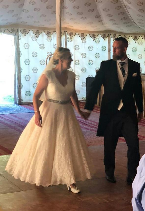 calf length bespoke wedding dress