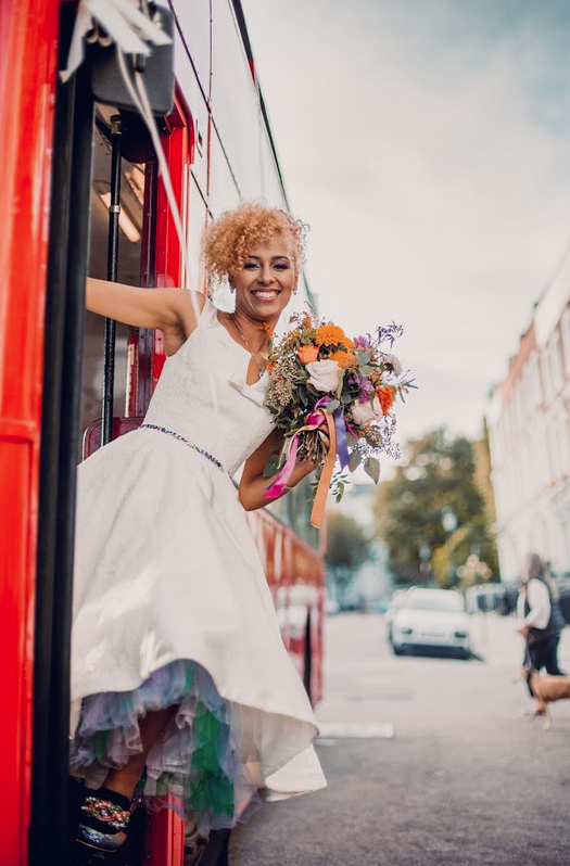 colourful wedding day and a short wedding dress