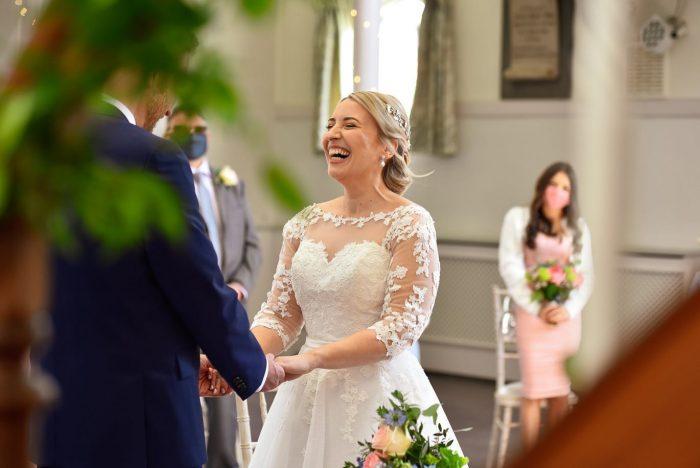 Real Bride Anna wearing Brighton Belle by True Bride tea length wedding dress from Cutting Edge Brides
