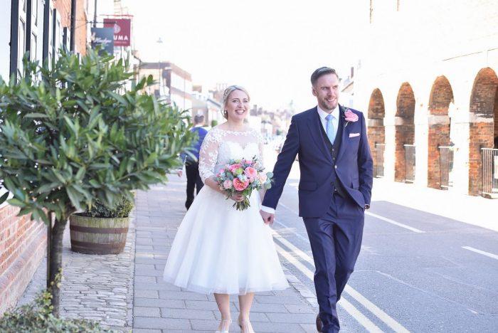 Anna and Jon's Intimate Wedding Celebration. Bride word dress from Cutting Edge Brides