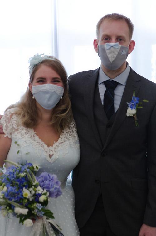Loulou Bridal blue wedding dress at Cutting Edge Brides