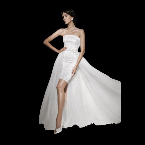 Dentelle Short Lace Wedding Dress Detachable Train 10793