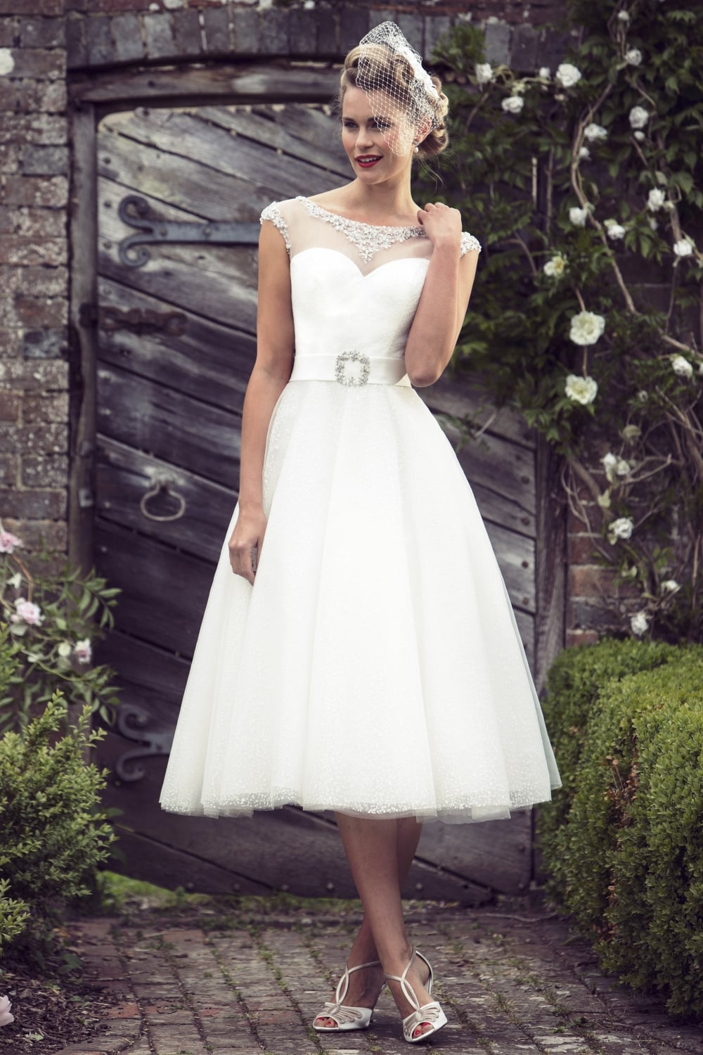Amelia Tea Length Lace Vintage Style Wedding Dress By White Rose R699